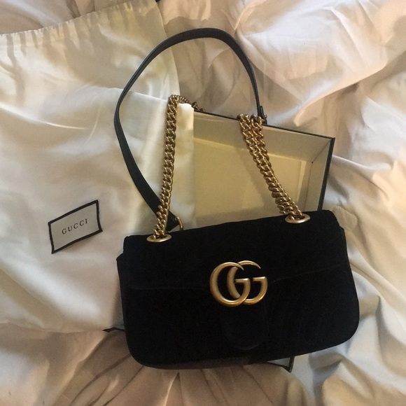 e91814c5752 Gucci Black Velvet Mini GG Marmont Bag